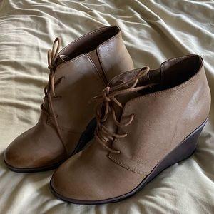 """3.5"""" Cognac wedge heel by Torrid."""